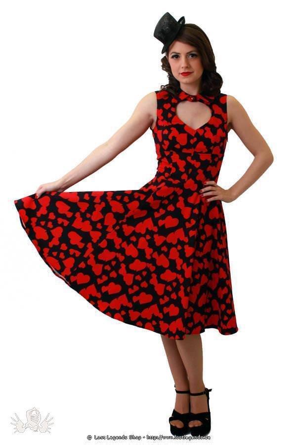 Vintage Red Hearts Pinup Kleid