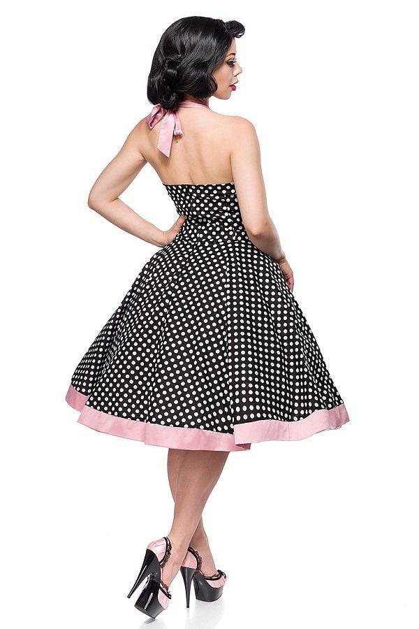 Vintage-Swing-Kleid schwarz/weiß/rosa