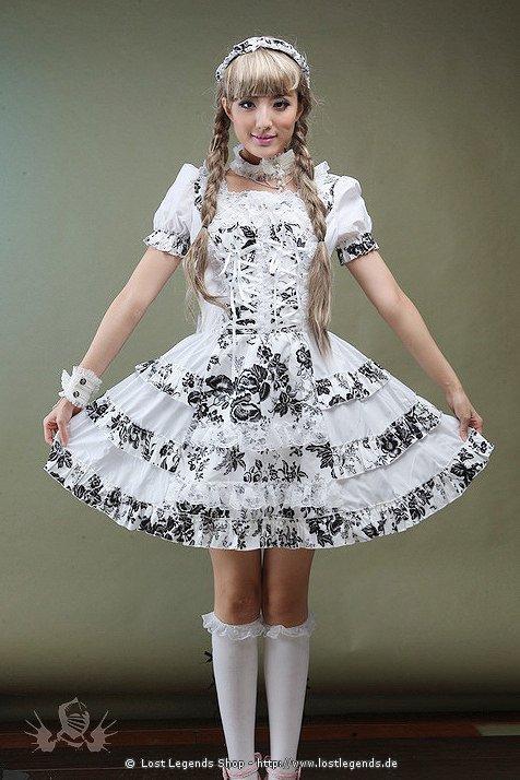Visual Kei White Flowers Kleid Gothic Mini-Kleid