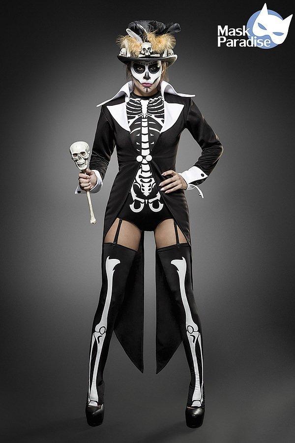 Voodoo Priesterin Komplettset schwarz/weiß