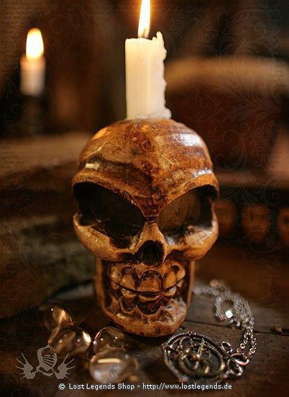 Voodoo Schädelkerzenständer Holz