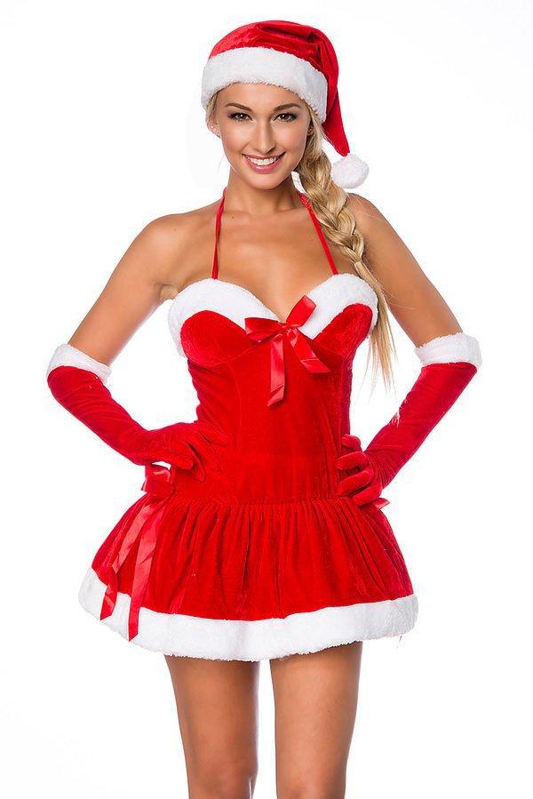 Weihnachts-Kleid mit Mütze rot/weiß