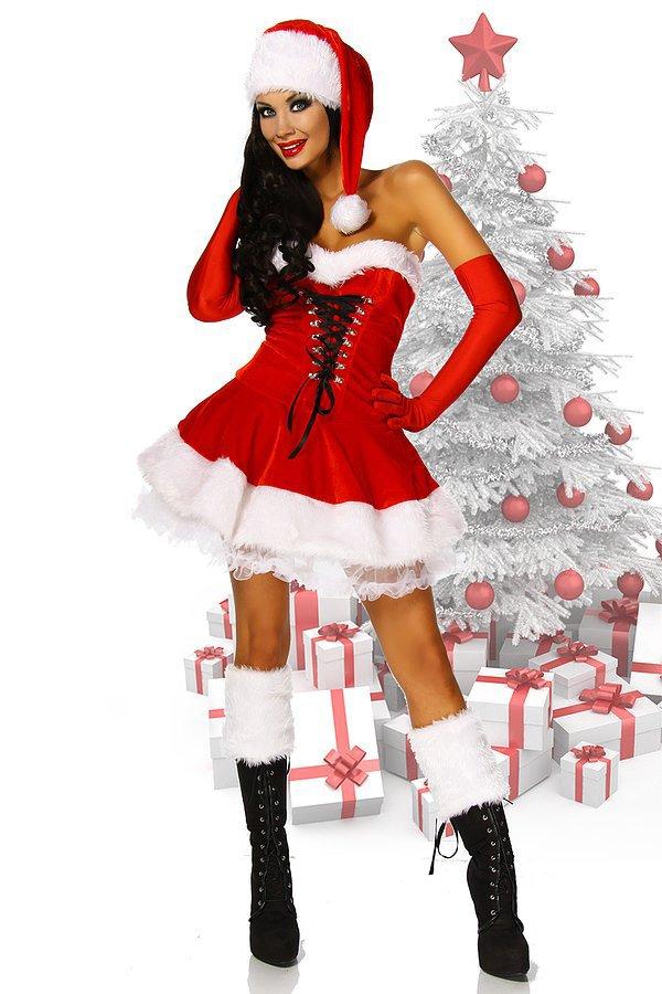 Weihnachts-Petticoatkleid rot/weiß