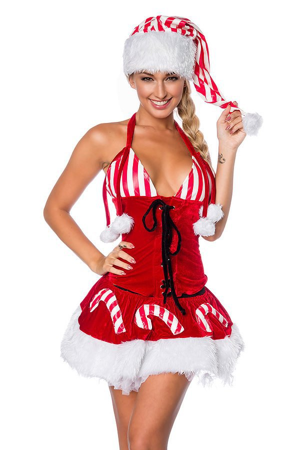 Weihnachts-Set mit Mütze rot/weiß