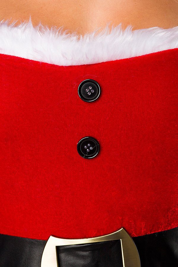 Weihnachtskleid mit Mütze rot/weiß