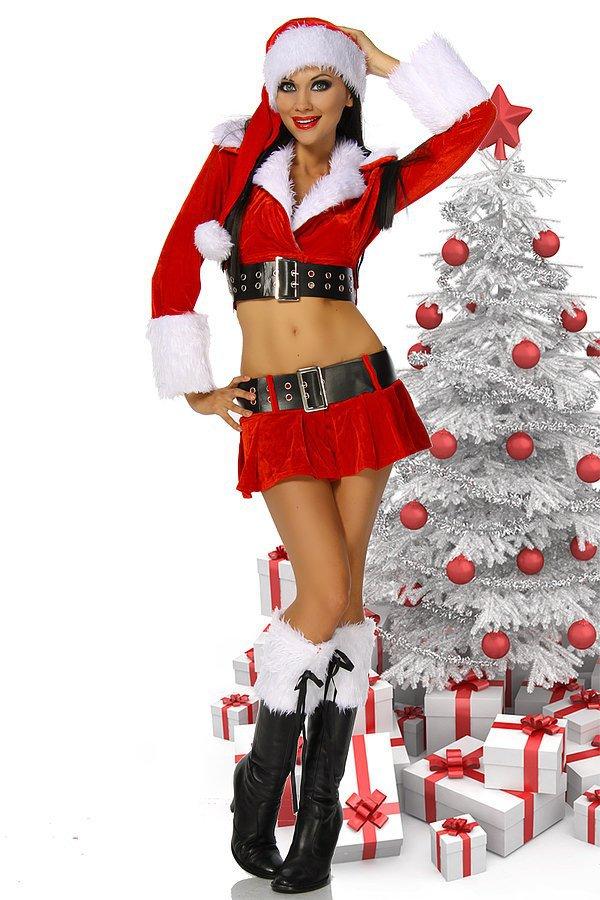 Weihnachtskostüm rot/schwarz/weiß