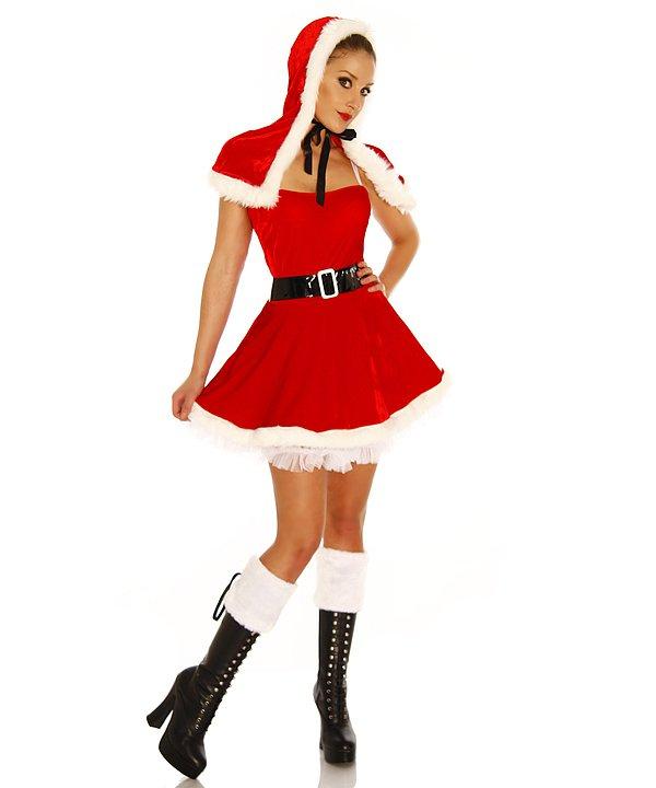 Weihnachtsmann-Petticoat-Kostüm rot/weiß