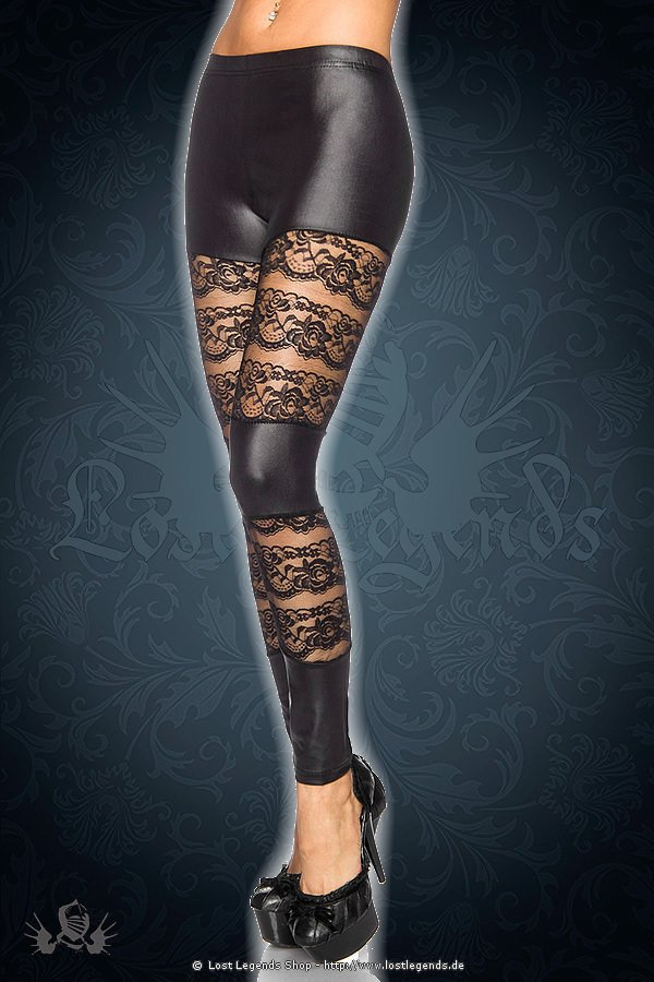 Wetlook-Leggings schwarz