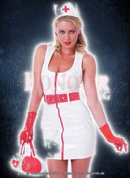 White Nurse Dress Lack Kleid