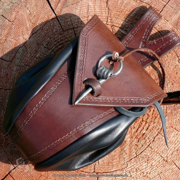 Viking Leather Bag with wrought pin
