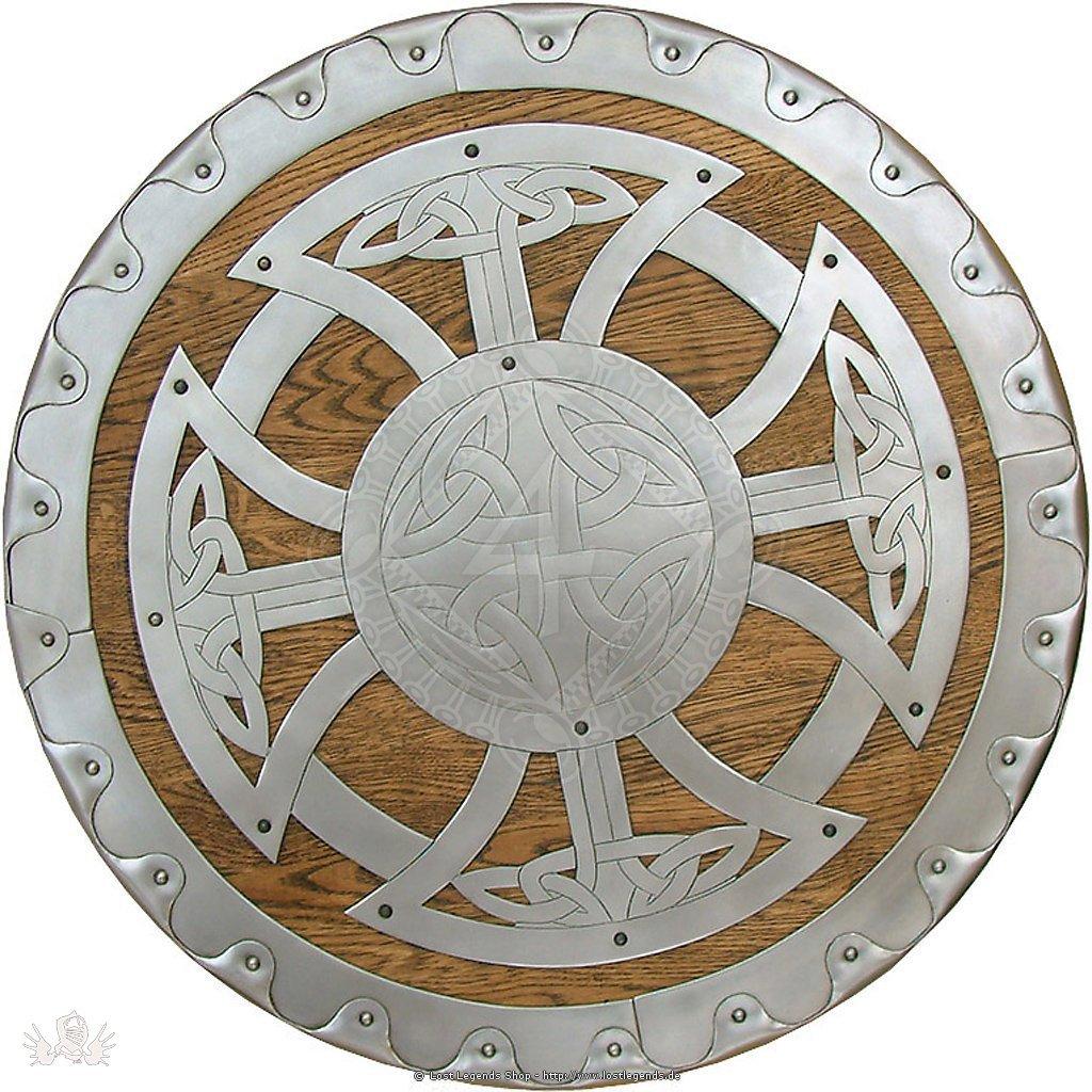 Wikinger Rundschild mit Knotenmuster handgearbeitet, 55 cm