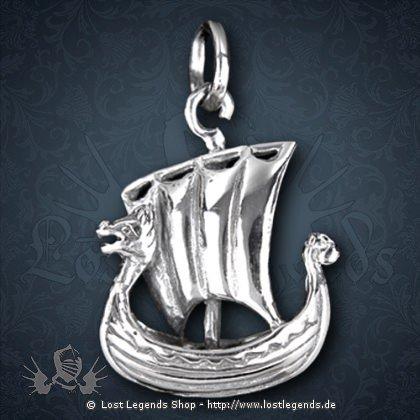 Wikingerschiff Anhänger, Silber