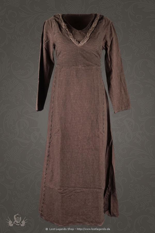 Mittelalterliches Damenkleid Laghertha, braun