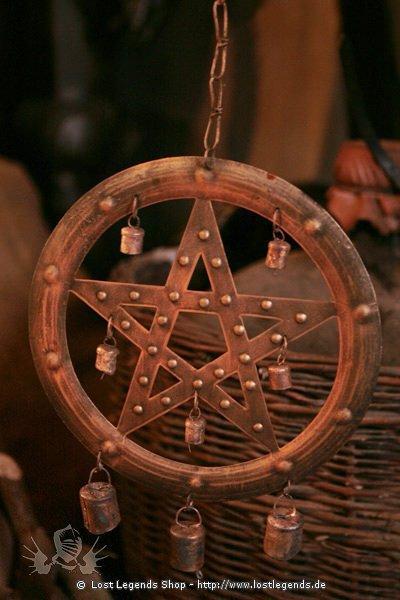 Windspiel Pentagram mit Glöckchen
