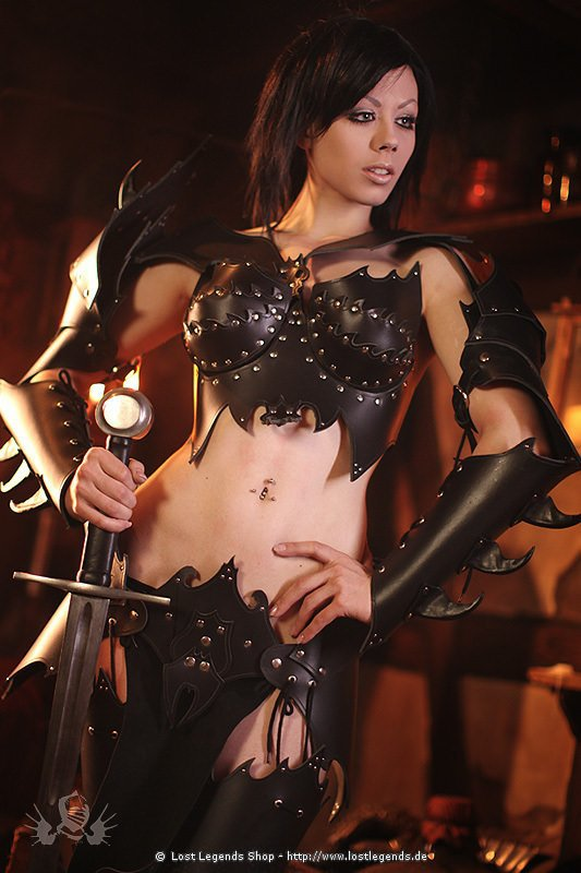 Witch Elf Armor Larp Lederrüstung, schwarz