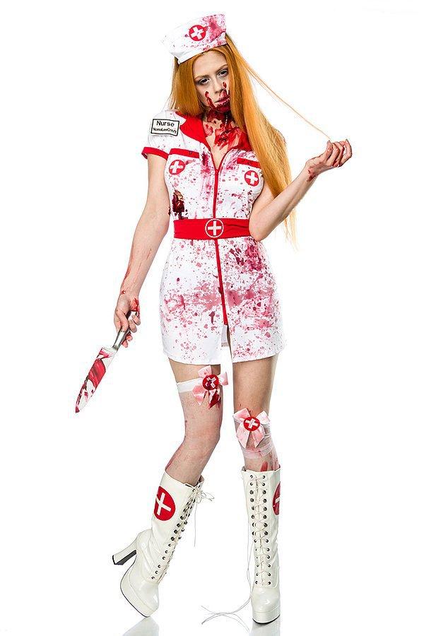 Zombie Nurse Komplettset weiß/rot