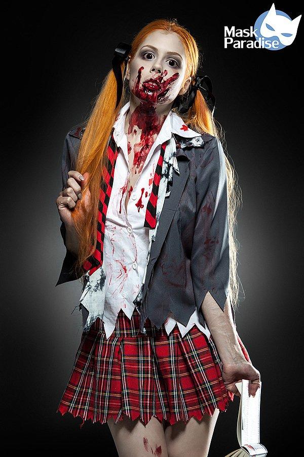 Zombie Schoolgirl Komplettset grau/rot/weiß