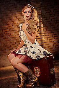 Balloon Print Steampunk Kleid