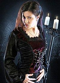 Gothic Samtbluse Vicious Rose