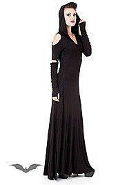 Langes, schulterfreies Kleid mit Kapuze