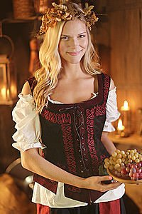 Medieval Leather Bodice with Embroidery, black
