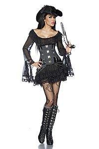 Piraten-//Mittelalterkleid oder Longbluse schwarz
