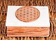Kartenbox aus Marmor Blume des Lebens Marmor/Akazienholz